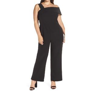 Eliza J Jumpsuit Plus Asymmetrical Neckline Black